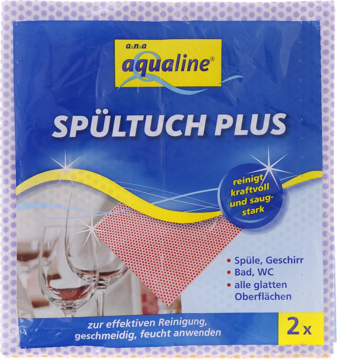Салфетка Aqualine Plus для посуды и домашнего хозяйства, цвет: оранжевый, сиреневый, 35 х 38 см, 2 шт2058_оранжевый,сиреневыйМягкая салфетка Aqualine Plus обладает высокими чистящими свойствами за счет специальных точек, которые находятся на поверхности ткани. Она прекрасно подходит как для мытья посуды, так и для уборки поверхностей на кухне и в ванной комнате. Благодаря рифленой структуре салфетка удаляет даже самые сильные загрязнения, хорошо впитывая жидкость, не оставляя ворсинок. Состав: 82% вискоза, 18% полипропилен.