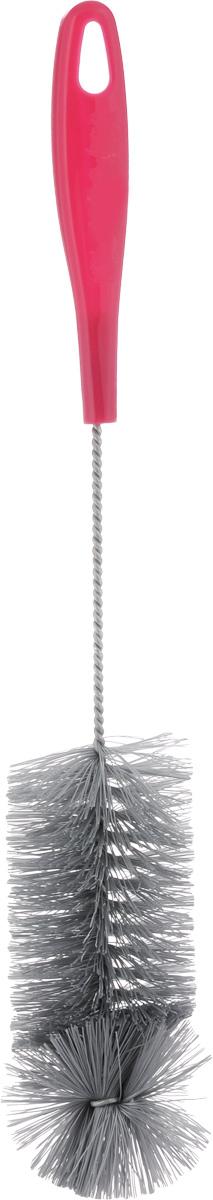 Ершик для бутылок York, цвет: серый, малиновый, длина 36,5 см4108_серый, малиновыйЕршик York предназначен для мытья бутылок. Изделие оснащено жесткой прочной щетиной, выполненной из сложных полимеров и закрепленной на металлическом крученом стержне. Эргономичная рукоятка, изготовленная из полипропилена (пластика), оснащена отверстием для подвешивания. Длина ершика: 36,5 см. Длина щетины: 3 см.