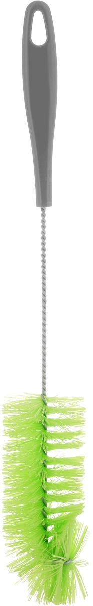 Ершик для бутылок York, цвет: серый, салатовый, длина 36,5 см4108_серый, салатовыйЕршик York предназначен для мытья бутылок. Изделие оснащено жесткой прочной щетиной, выполненной из сложных полимеров и закрепленной на металлическом крученом стержне. Эргономичная рукоятка, изготовленная из полипропилена (пластика), оснащена отверстием для подвешивания. Длина ершика: 36,5 см. Длина щетины: 3 см.