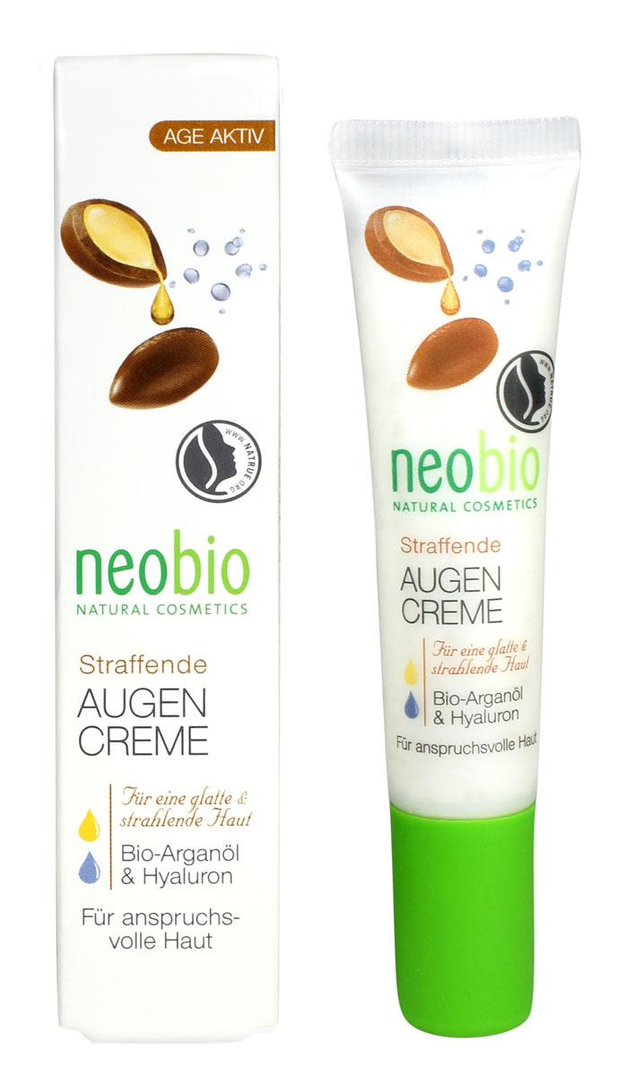 NEOBIO Разглаживающий крем вокруг глаз, 15 мл62326NEOBIO, разглаживающий крем вокруг глаз с био-аргановым маслом и гиалуроновой кислотой Борется с признаками старения кожи вокруг глаз. Крем для век NEOBIO с био-аргановым маслом и гиалуроновой кислотой разработан специально для нежной кожи вокруг глаз. Растительный глицерин, входящий в состав средства, активно увлажняет, гиалуроновая кислота заполняет морщинки изнутри, а композиция натуральных масел восстанавливает кожу, избавляя от синяков и мешков под глазами.