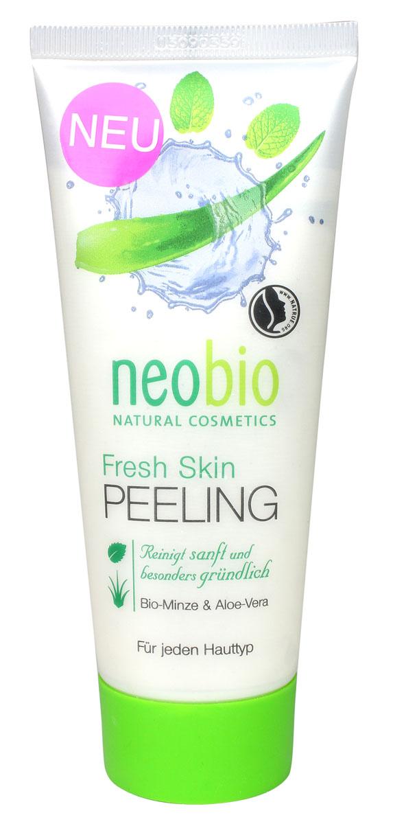 Neobio ФРЕШ СКИН Средство для пилинга лица, 100 мл62360Neobio Fresh Skin средство для пилинг с био-мятой и алоэ вера. Для всех типов кожи. Очищает мягко и особенно тщательно. Средство для пилинга NEOBIO подготавливает кожу к последующему уходу. Органический экстракт алоэ вера обеспечивает оптимальный баланс влаги в глубоких слоях кожи. Био-мята оживляет и успокаивает кожу, делая ее гладкой и свежей.