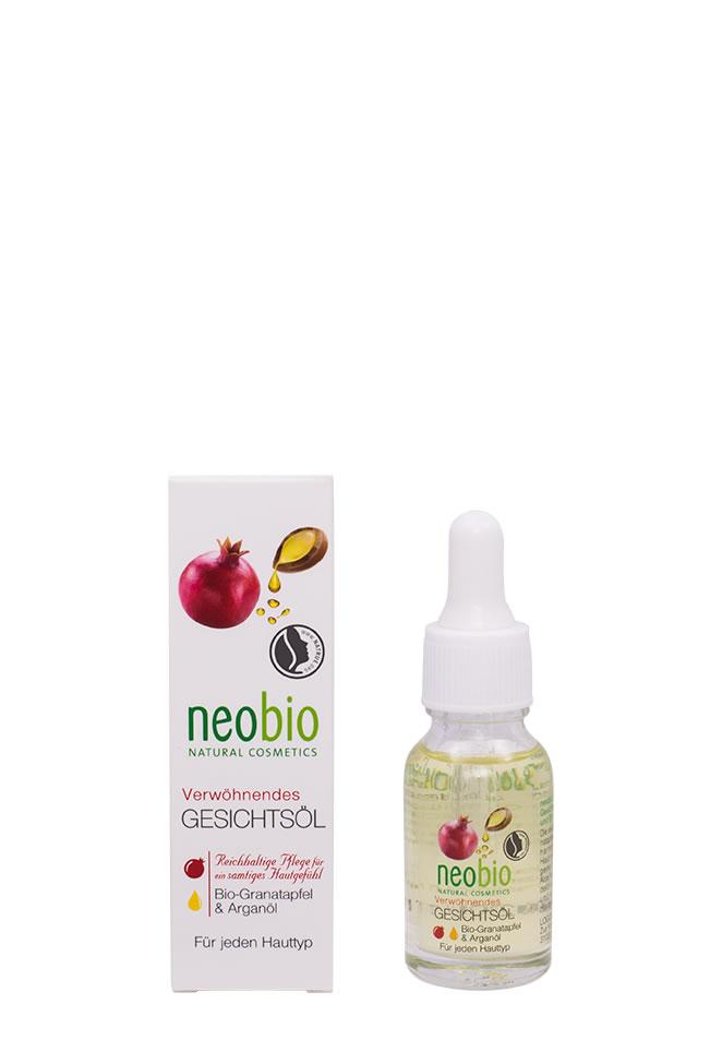 NEOBIO Насыщенное масло для лица, 15 мл62368NEOBIO насыщенное масло для лица с био-гранатом и аргановым маслом. Для всех типов кожи. Избавляет от сухости и ощущения стянутости. Нежная текстура масла не оставляет жирной пленки на лице, полностью впитываясь в кожу. Био-экстракт алоэ вера борется с воспалениями, миндальное масло обеспечивает длительное увлажнение, витамин E разглаживает морщинки и делает кожу бархатистой.