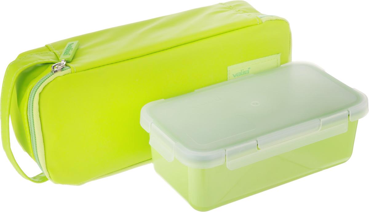 Термосумка Valira Nomad One, с контейнером, цвет: зеленый, 750 мл6029/148Термосумка Valira Nomad One - это удобная и стильная термосумка небольшого размера, которая сохраняет температуру содержимого до 6 часов. Сумка выполнена из гигиеничного непромокаемого текстиля. Внутри отделана термоизоляционным металлизированным материалом, сохраняющим еду горячей и вкусной. За сумкой очень легко ухаживать, внутренняя поверхность легко очищается влажной тряпкой. Сумка закрывается на молнию, снабжена боковой ручкой для удобной переноски. Внутри имеется сетчатый карман для столовых приборов. В комплекте с термосумкой поставляется пищевой контейнер, выполненный из керамического пластика. Данный материал не содержит полипропилена, BPA и фталатов, что очень важно для здоровья. Контейнер оснащен крышкой с силиконовой прослойкой и защелками с четырех сторон. Полностью герметичен и водонепроницаем, отлично подходит даже для переноски жидких блюд. Не впитывает запахов и не окрашивается в цвет пищи, материал изделия приятен на ощупь. ...