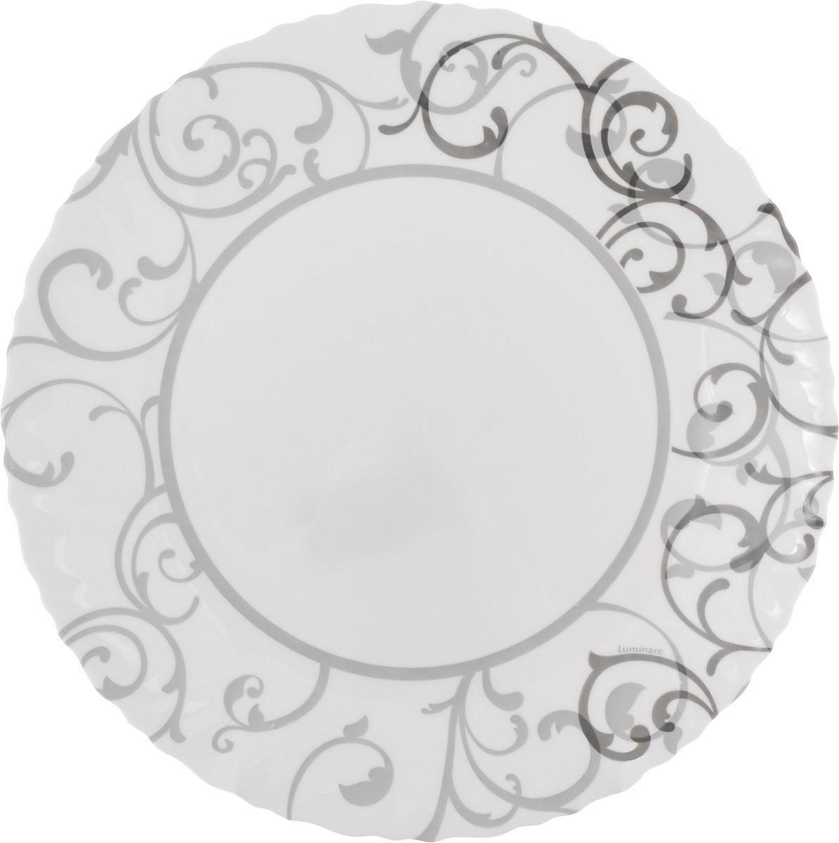 Тарелка обеденная Luminarc Aliya, цвет: белый, серый, диаметр 25 смJ3248_серый орнаментОбеденная тарелка Luminarc Aliya, изготовленная из высококачественного ударопрочного стекла, имеет изысканный внешний вид. Яркий дизайн придется по вкусу и ценителям классики, и тем, кто предпочитает утонченность. Тарелка Luminarc Aliya идеально подойдет для сервировки стола и станет отличным дополнением к коллекции вашей кухонной посуды. Предназначена для подачи вторых блюд. Можно мыть в посудомоечной машине и использовать для разогрева пищи в микроволновой печи.