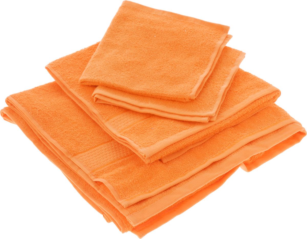 Набор махровых полотенец Aisha Home Textile, цвет: оранжевый, 4 штУзТ-НПБ-101-27Набор Aisha Home Textile состоит из четырех махровых полотенец разного размера. Полотенца выполнены из натуральной махровой ткани (100% хлопка). Изделия отлично впитывают влагу, быстро сохнут, сохраняют яркость цвета и не теряют формы даже после многократных стирок. Полотенца Aisha Home Textile очень практичны и неприхотливы в уходе. Комплектация: 4 шт.