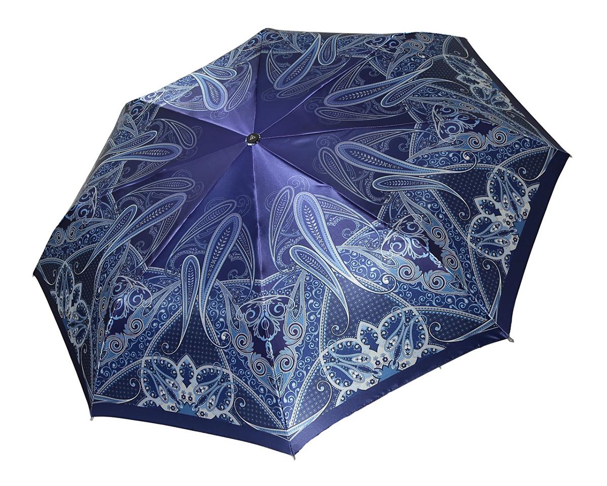 Зонт женский Fabretti, автомат, 3 сложения, цвет: синий, серый. S-16101-8S-16101-8Стильный автоматический зонт Fabretti оформлен оригинальным принтом. Он оснащен надежным каркасом с восьмью спицами. Купол изготовлен из прочного полиэстера. Зонт имеет автоматический механизм сложения: купол открывается и закрывается нажатием кнопки на рукоятке, стержень складывается вручную до характерного щелчка, благодаря чему открыть зонт можно одной рукой, что чрезвычайно удобно при выходе из транспорта или помещения. Эргономичная рукоятка из пластика дополнена эластичной петлей. К зонту прилагается чехол, закрывающийся на застежку-молнию. Такой зонт легко поместится в женскую сумочку и даже в самую ненастную погоду позволит вам оставаться стильной и элегантной.