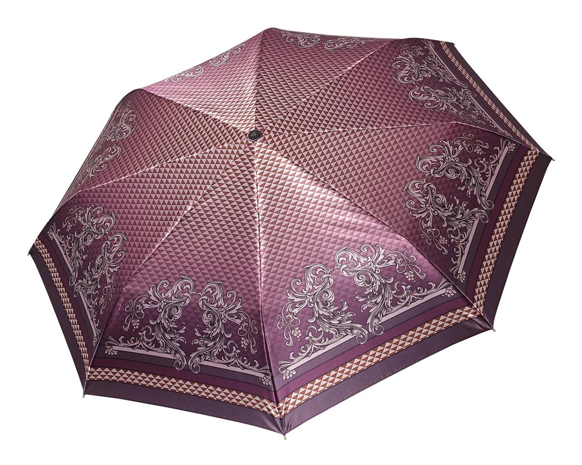 Зонт женский Fabretti, полный автомат, 3 сложения, цвет: бордовый. S-16103-7S-16103-7Зонт женский Fabretti, суперавтомат, 3 сложения, сатин