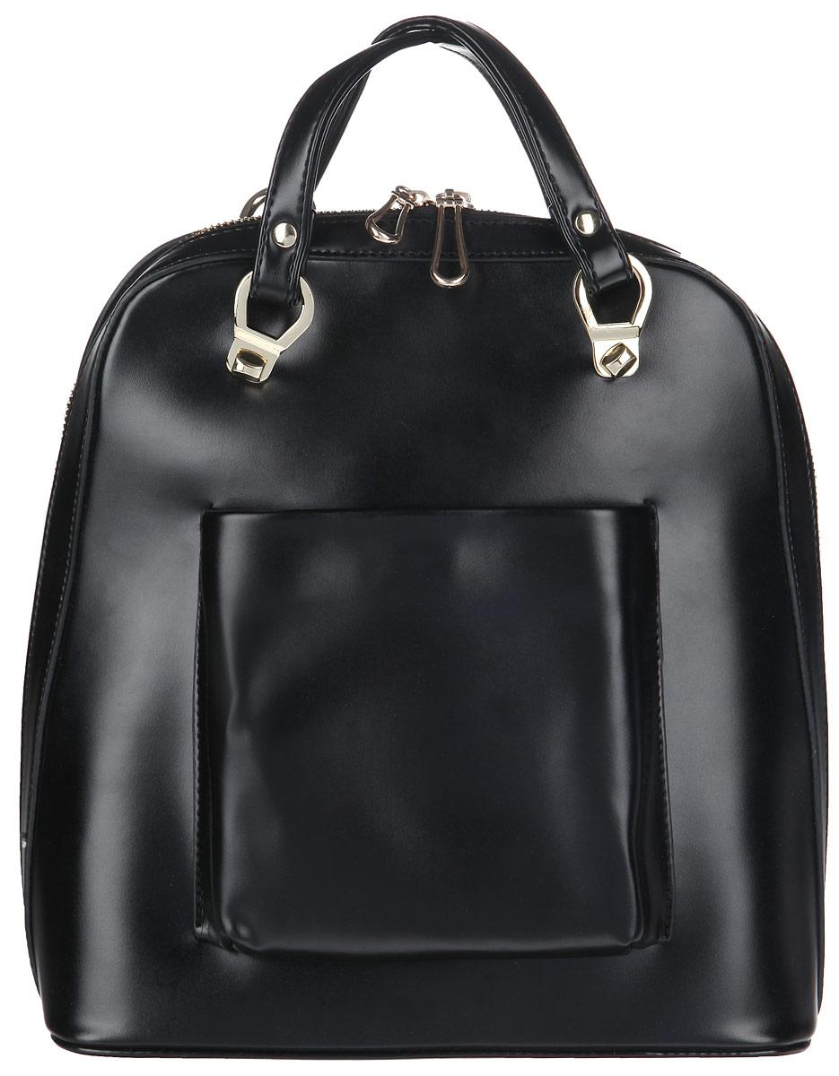 Сумка-рюкзак женская Baggini, цвет: черный. 29603/1029603/10Практичная женская сумка-рюкзак Baggini выполнена из искусственной кожи с гладкой фактурой, оформлена металлической фурнитурой. Изделие содержит одно отделение, закрывающееся на застежку-молнию. Внутри сумки расположены два накладных кармашка для мелочей, врезной карман на застежке-молнии и карман-средник на молнии. На лицевой стороне изделия расположен накладной карман, закрывающийся на магнитную кнопку. Сумка оснащена удобными ручками, которые легко трансформируются в лямки и позволяют использовать изделие в качестве рюкзака. Дно сумки защищено от повреждений металлическими ножками. Модный аксессуар позволит вам завершить образ и быть неотразимой.