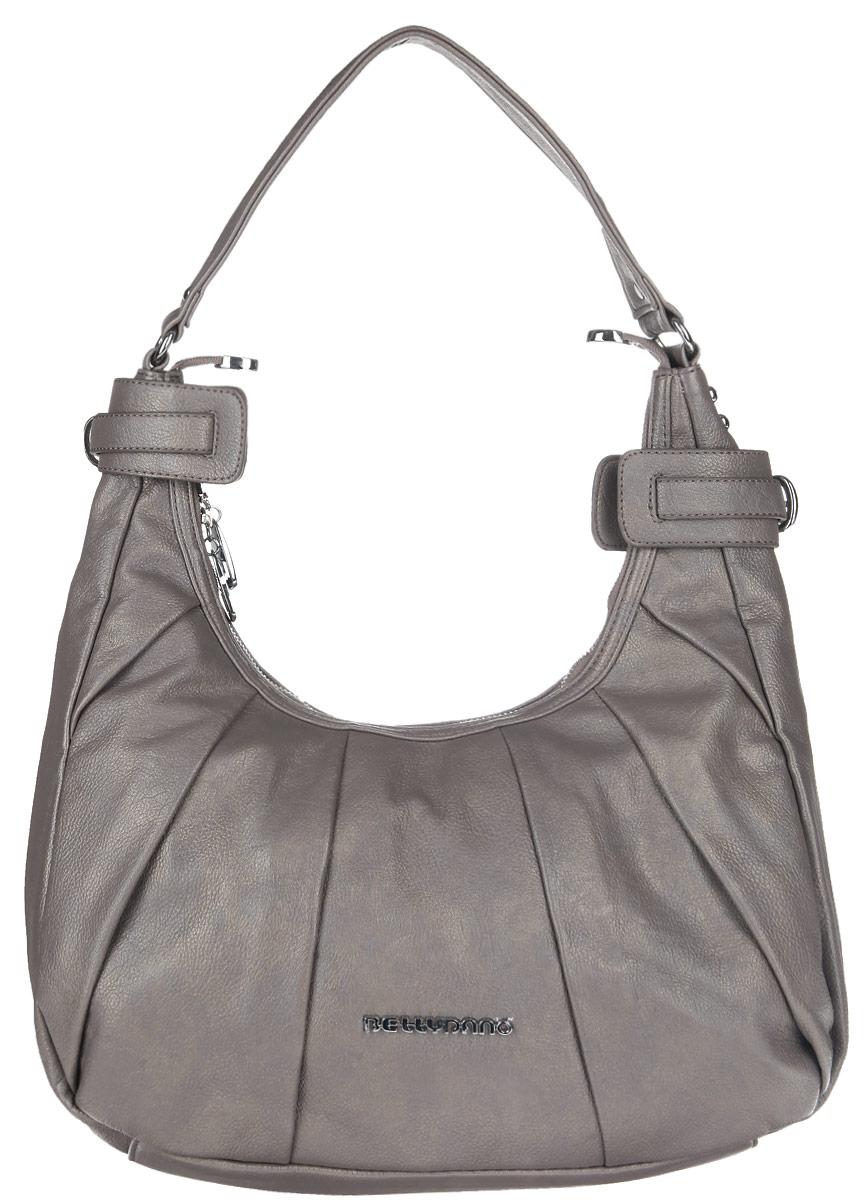 Сумка женская Bettydano, цвет: серый. DW12571-20DW12571-20Практичная женская сумка Bettydano выполнена из искусственной кожи с зернистой фактурой и оформлена металлической фурнитурой с символикой бренда. Изделие содержит одно основное отделение, которое закрывается на застежку-молнию. Внутри сумки расположены четыре накладных кармашка для мелочей, один из которых закрывается на застежку-молнию, и врезной карман на застежке-молнии. Сумка оснащена удобной лямкой, которая позволит носить изделие, как в руках, так и на плече. Модный аксессуар позволит вам завершить образ и быть неотразимой.