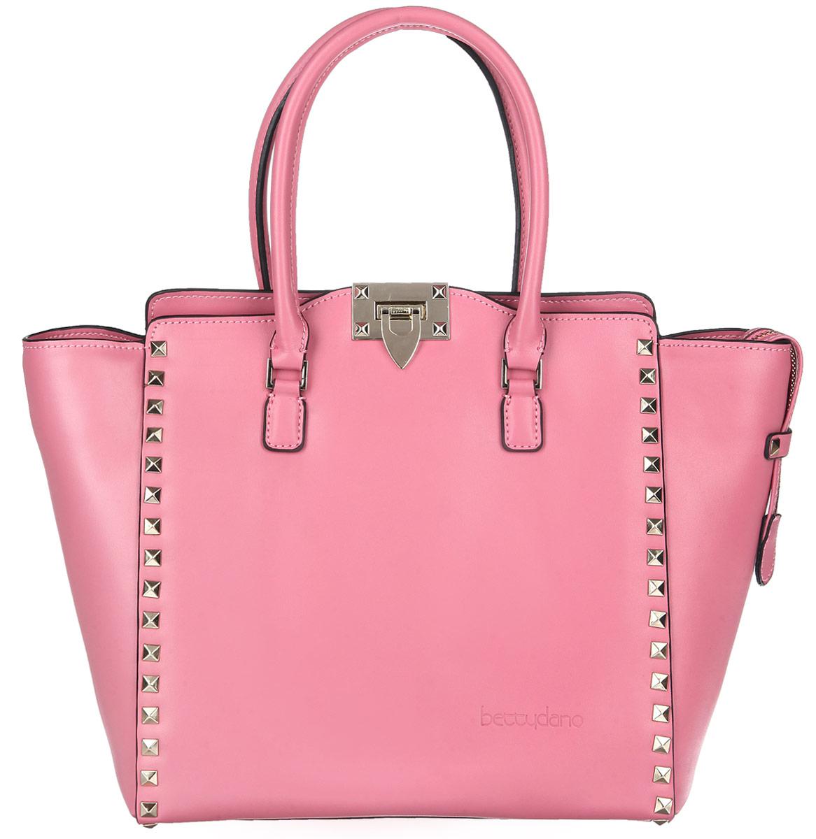 Сумка женская Bettydano, цвет: розовый. L30421-R5L30421-R5Элегантная женская сумка Bettydano выполнена из натуральной кожи с гладкой фактурой, оформлена металлической фурнитурой и тиснением с названием бренда. Изделие содержит одно основное отделение, которое закрывается на застежку-молнию и дополнительно на замок-защелку. Внутри сумки расположены два накладных кармашка для мелочей и врезной карман на застежке-молнии. Сумка оснащена практичными ручками и съемным плечевым ремнем регулируемой длины, которые позволят носить изделие, как в руках, так и на плече. Дно изделия дополнено металлическими ножками. Модный аксессуар позволит вам завершить образ и быть неотразимой.