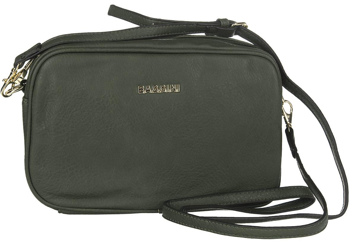 Сумка женская Baggini, цвет: темно-зеленый. 29607/5329607/53Стильная женская сумка Baggini выполнена из искусственной кожи с зернистой фактурой, оформлена металлической фурнитурой с символикой бренда. Изделие содержит одно отделение, которое закрывается на застежку-молнию. Внутри сумки расположены два накладных кармашка для мелочей, врезной карман на застежке-молнии и отделение для авторучки. На задней стороне изделия расположен врезной карман на молнии. Сумка оснащена съемным плечевым ремнем регулируемой длины. Модный аксессуар позволит вам завершить образ и быть неотразимой.