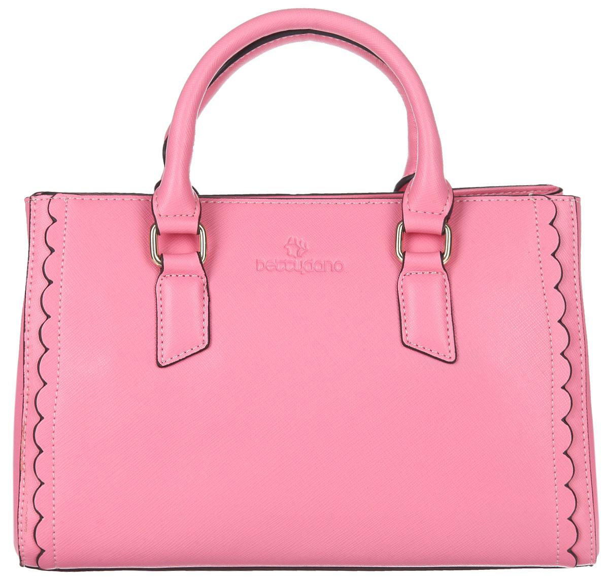 Сумка женская Bettydano, цвет: розовый. L40471-R1L40471-R1Элегантная женская сумка Bettydano выполнена из натуральной кожи с декоративным фактурным тиснением и оформлена символикой бренда. Изделие содержит одно основное отделение, которое закрывается на застежку-молнию. Внутри сумки расположены два накладных кармашка для мелочей, карман-средник на молнии и врезной карман на застежке-молнии. Сумка оснащена практичными ручками и съемным плечевым ремнем регулируемой длины, которые позволят носить изделие, как в руках, так и на плече. Дно изделия дополнено металлическими ножками. Модный аксессуар позволит вам завершить образ и быть неотразимой.