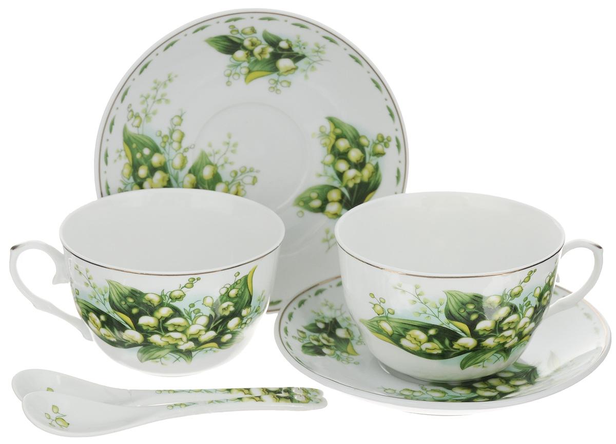 Набор чайных пар Elan Gallery Ландыши, 6 предметов730487Набор чайных пар Elan Gallery Ландыши состоит из 2 чашек, 2 ложек и 2 блюдец. Предметы набора выполнены из высококачественной керамики и оформлены изящным изображением цветов. Оригинальный дизайн, несомненно, придется вам по вкусу. Набор чайных пар Elan Gallery Ландыши украсит ваш кухонный стол, а также станет замечательным подарком к любому празднику. Не рекомендуется применять абразивные моющие средства. Не использовать в микроволновой печи. Объем чашки: 250 мл. Диаметр чашки (по верхнему краю): 9,5 см. Диаметр основания чашки: 4 см. Высота чашки: 7 см. Диаметр блюдца: 14 см. Высота блюдца: 2 см. Длина ложки: 12,5 см.
