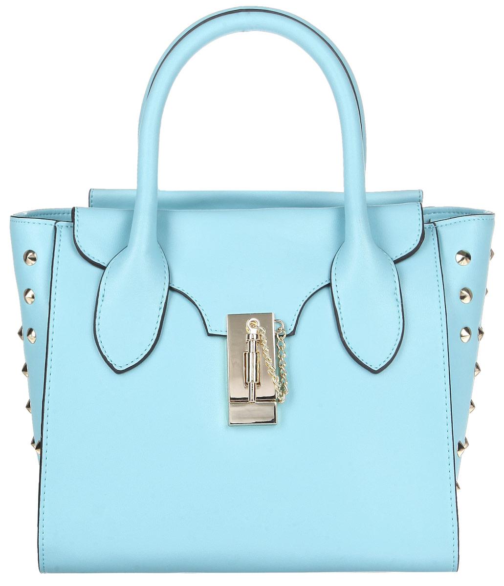 Сумка женская Renee Kler, цвет: голубой. RL655-16RL655-16Стильная женская сумка Renee Kler выполнена из натуральной кожи, оформлена металлической фурнитурой. Изделие содержит одно отделение, которое закрывается на застежку-молнию. Внутри сумки расположены два накладных кармашка для мелочей, врезной карман на застежке-молнии и карман-средник на молнии. Снаружи, на лицевой стороне изделия, расположен врезной карман, закрывающийся клапаном на замок-вертушку. Сумка оснащена удобными ручками и съемным плечевым ремнем регулируемой длины, которые позволят носить изделие, как в руках, так и на плече. Дно изделия дополнено металлическими ножками, которые защитят изделие от преждевременных повреждений. Практичный аксессуар позволит вам завершить образ и быть неотразимой.