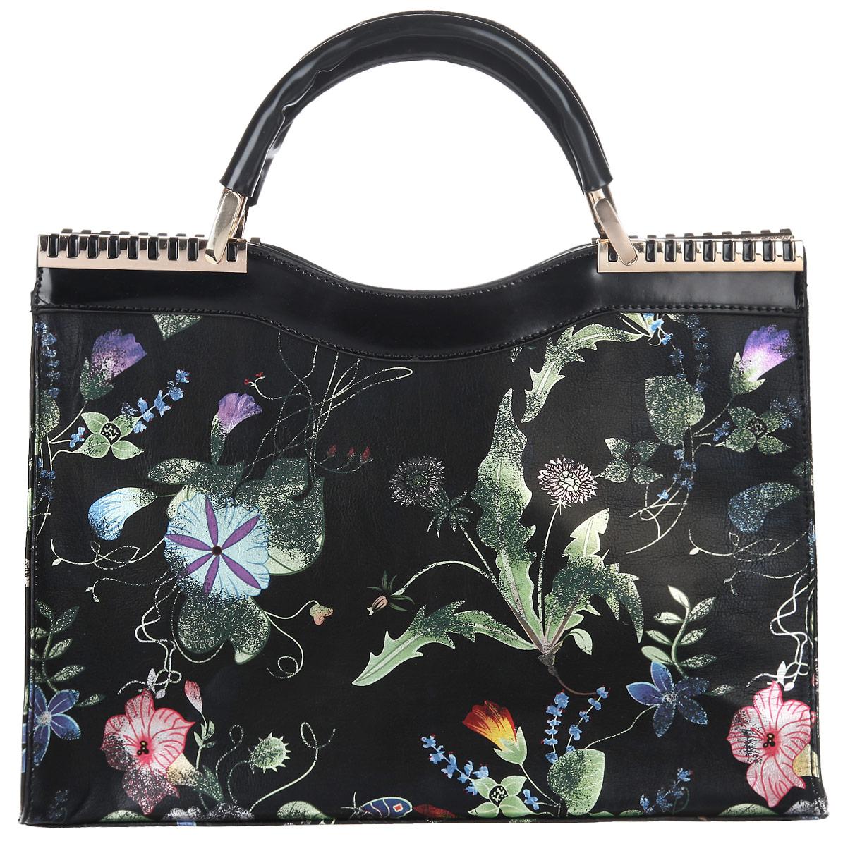 Сумка женская Renee Kler, цвет: черный, мультицвет. RF025-00RF025-00Стильная женская сумка Renee Kler выполнена из искусственной кожи, оформлена оригинальным цветочным принтом. Изделие содержит одно отделение, которое закрывается на застежку-молнию. Внутри сумки расположены два накладных кармашка для мелочей, врезной карман на застежке-молнии и карман-средник на молнии. Снаружи, на задней стороне изделия, расположен врезной карман на молнии. Сумка оснащена удобными ручками и съемным плечевым ремнем регулируемой длины, которые позволят носить изделие, как в руках, так и на плече. Ручки дополнены металлической фурнитурой. Практичный аксессуар позволит вам завершить образ и быть неотразимой.