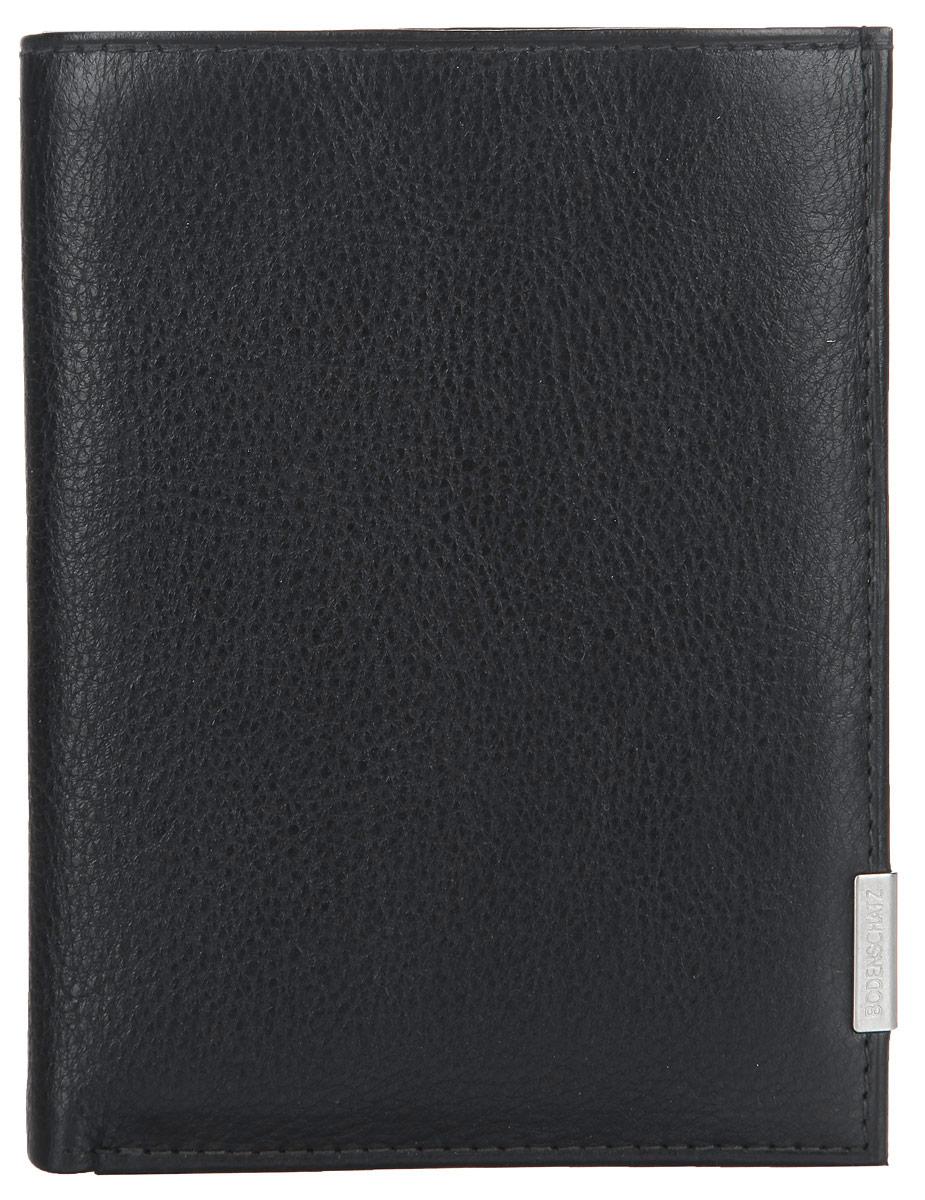 Портмоне мужское Bodenschatz, цвет: черный. 8-699/018-699/01Стильное мужское портмоне Bodenschatz выполнено из высококачественной натуральной кожи с гладкой фактурой, оформлено металлической фурнитурой с символикой бренда. Внутри изделия расположены: два отделения для купюр, три потайных кармашка, отделение для монет, закрывающееся клапаном на кнопку, четыре прорезных кармана для кредитных карт. Портмоне упаковано в коробку из плотного картона с логотипом фирмы. Это элегантное портмоне непременно подойдет к вашему образу и порадует стилем и функциональностью.