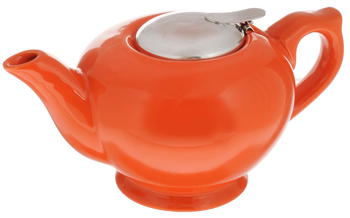 Чайник заварочный Loraine, с фильтром, цвет: оранжевый, 900 мл23059_оранжевыйЗаварочный чайник Loraine изготовлен из высококачественной керамики и снабжен крышкой из нержавеющей стали. Изделие оснащено фильтром, благодаря которому задерживает чаинки и предотвращает их попадание в чашку. Глянцевый корпус обеспечивает легкую очистку. Чайник поможет заварить крепкий ароматный чай и великолепно украсит стол к чаепитию. Диаметр чайника (по верхнему краю): 8 см. Высота чайника (без учета крышки): 10 см. Высота фильтра: 6,5 см.