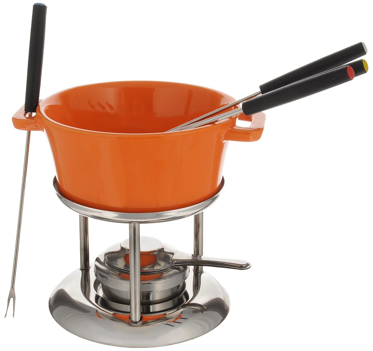 Набор для фондю Mayer & Boch, цвет: оранжевый, стальной, 7 предметов21642_оранжевый, стальнойНабор для фондю Mayer & Boch имеет красивый и современный дизайн. Он прекрасно будет смотреться на столе и придаст вашему празднику, коктейльной вечеринке или интимному ужину праздничное настроение. Этот универсальный набор позволит каждому из ваших гостей насладиться тем продуктом, который им нравится больше всего, а также каждому предоставит возможность побыть своим личным шеф-поваром. Вы получите огромное удовольствие при приготовлении продуктов с помощью набора для фондю в любое время. Состав набора: Чаша. Подставка. 4 вилки. Стойка с подсвечником. Объем чаши: 600 мл. Диаметр чаши (по верхнему краю): 15 см. Высота чаши: 7 см. Длина вилок: 23 см. Диаметр подставки: 14,5 см. Высота подставки: 10,5 см.