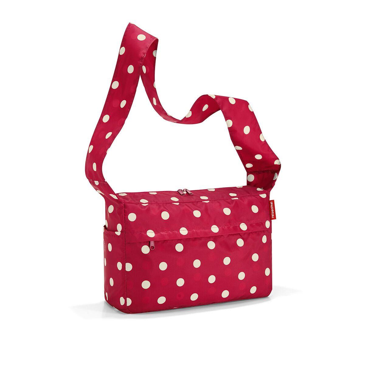 Сумка женская Reisenthel, складная, цвет: темно-красный, светло-бежевый. AL3014AL3014Стильная женская сумка Reisenthel изготовлена из текстиля с принтом в горох. Сумка имеет одно отделение, которое закрывается на застежку-молнию с двумя бегунками. Внутри имеется нашивной карман на застежке-молнии, в который сумка складывается и приобретает компактный вид. Снаружи, на передней стенке расположен накладной карман на застежке-молнии. По бокам расположены открытые накладные карманы. Изделие оснащено удобным наплечным ремнем.