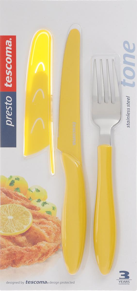 """Набор столовых приборов Tescoma """"Presto Tone"""", цвет: желтый, 3 предмета. 863144"""