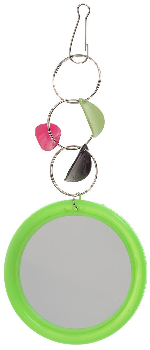 Игрушка для птиц Triol Зеркало с украшением, цвет: зеленыйКх-05100_зеленыйИгрушка Triol Зеркало с украшением предназначена для птиц. Изделие выполнено из пластика с металлическими кольцами. Такая игрушка не даст скучать вашему питомцу. Она подвешивается на клетку при помощи небольшого крючка. Диаметр зеркала: 5 см. Общая длина игрушки: 14 см.