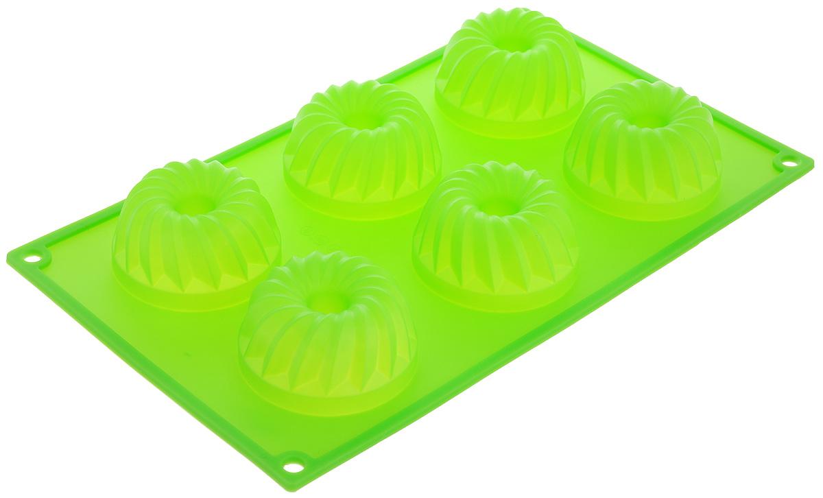 Форма для выпечки Marmiton Кекс, силиконовая, цвет: зеленый, 29 х 17 х 3 см, 6 ячеек16024_зеленыйФорма для выпечки Marmiton Кекс, выполненная из силикона, будет отличным выбором для всех любителей бисквитов и кексов. Ячейки имеют форму кексов. Форма обладает естественными антипригарными свойствами. Неприлипающая поверхность идеальна для духовки, морозильника, микроволновой печи и аэрогриля. Готовую выпечку или мармелад вынимать легко и просто. С такой формой вы всегда сможете порадовать своих близких оригинальным изделием. Материал устойчив к фруктовым кислотам, может быть использован в духовках и микроволновых печах (выдерживает температуру от 230°C до - 40°C). Можно мыть и сушить в посудомоечной машине. Размер формы для выпечки: 29 х 17 х 3 см. Размер ячеек: 6,5 х 6,5 х 3 см.