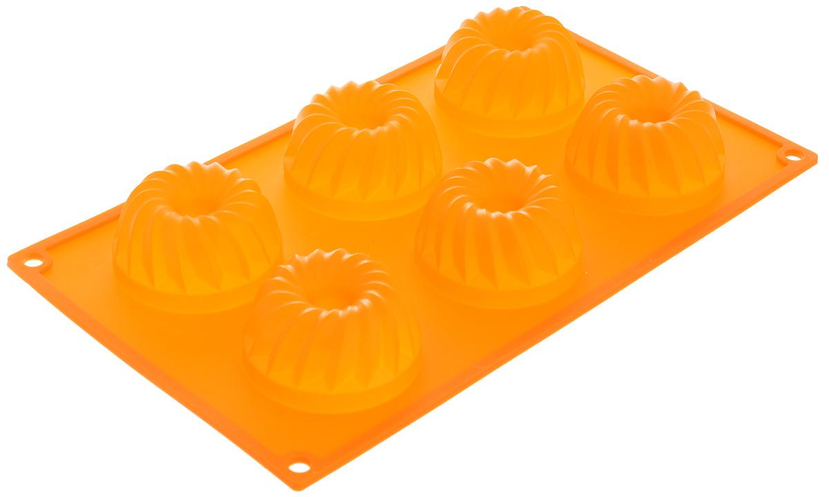 Форма для выпечки Marmiton Кекс, силиконовая, цвет: оранжевый, 29 х 17 х 3 см, 6 ячеек16024_оранжевыйФорма для выпечки Marmiton Кекс, выполненная из силикона, будет отличным выбором для всех любителей бисквитов и кексов. Ячейки имеют форму кексов. Форма обладает естественными антипригарными свойствами. Неприлипающая поверхность идеальна для духовки, морозильника, микроволновой печи и аэрогриля. Готовую выпечку или мармелад вынимать легко и просто. С такой формой вы всегда сможете порадовать своих близких оригинальным изделием. Материал устойчив к фруктовым кислотам, может быть использован в духовках и микроволновых печах (выдерживает температуру от 230°C до - 40°C). Можно мыть и сушить в посудомоечной машине. Размер формы для выпечки: 29 х 17 х 3 см. Размер ячеек: 6,5 х 6,5 х 3 см.