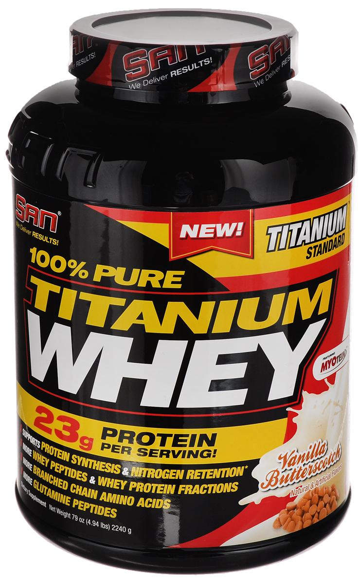 Протеин SAN 100% Pure Titanium Whey, ванильные ириски, 2240 г00693Сывороточный протеин SAN 100% Pure Titanium Whey разработан специально для серьезных атлетов, бодибилдеров и любителей фитнеса. Данный продукт поддерживает синтез белка и соответственно рост сухой мышечной массы, а за счет быстрого впитывания в кровоток препятствует развитию катаболических процессов в послетренировочный период. Кроме того, его воздействие длится в течение четырех часов, что важно для продолжительного обеспечения мышечной массы белком, необходимым для увеличения ее объемов. Эффективность сывороточного протеина SAN 100% Pure Titanium Whey научно доказана. Было установлено, что он увеличивает мышечную массу и силу. В исследовании принимали участие бодибилдеры и любители фитнеса, при этом объектом исследования были мышечная масса, мышечная сила и уровень жира в организме. В группе испытуемых, которые получали сывороточный протеин, было отмечено увеличение объемов мышечной массы на 3,5 килограмма и уменьшение количества жировых отложений. В группе, принимающей...