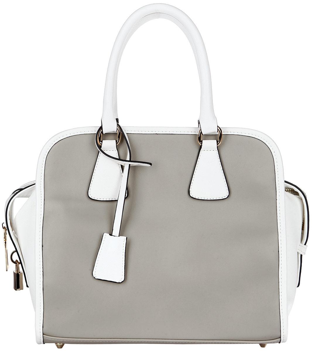 Сумка женская Renee Kler, цвет: белый, серый. RK186-14RK186-14Элегантная женская сумка Renee Kler выполнена из искусственной кожи с гладкой фактурой, оформлена декоративной подвеской в виде замочка. Изделие содержит одно основное отделение, закрывающееся на застежку-молнию. Внутри сумки расположены два накладных кармашка для мелочей и врезной кармашек на застежке-молнии. Изделие оснащено двумя удобными ручками и съемным плечевым ремнем регулируемой длины. Дно изделия защищено от повреждений металлическими ножками. Модный аксессуар позволит вам завершить образ и быть неотразимой.