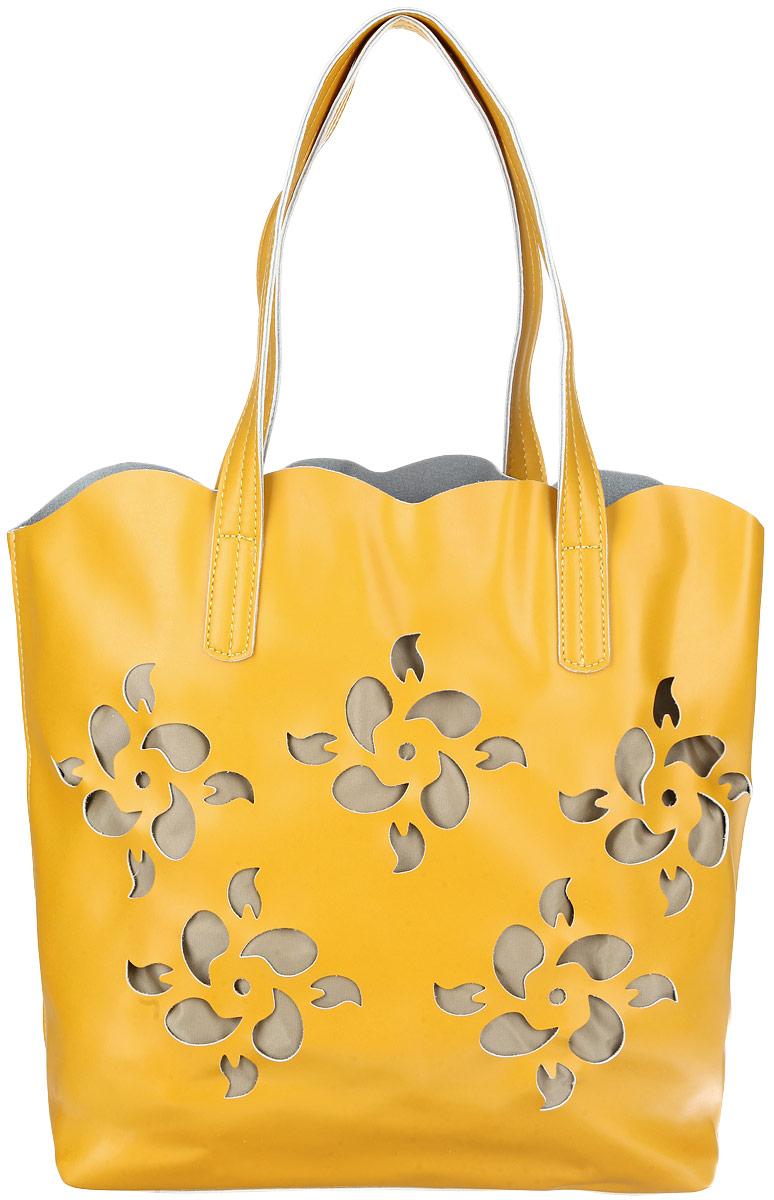 Сумка женская Baggini, цвет: желтый. 28074/8228074/82Стильная женская сумка Baggini выполнена из искусственной кожи с гладкой фактурой, оформлена перфорацией в виде пяти цветков. Изделие содержит одно открытое отделение со съемным внутренним карманом. Карман закрывается на застежку-молнию, содержит два накладных кармашка для мелочей и врезной карман на молнии. Сумка дополнена удобными ручками и съемным плечевым ремнем регулируемой длины. Оригинальная сумка идеально подчеркнет ваш неповторимый стиль.