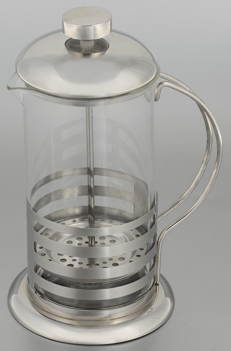 Френч-пресс Mayer & Boch, 600 мл. 2492724927Френч-пресс Mayer & Boch прекрасно подходит для заваривания чая и кофе. Изделие выполнено из термостойкого стекла в сочетании с нержавеющей сталью. Фильтр-поршень из нержавеющей стали изготовлен по технологии press-up для обеспечения равномерной циркуляции воды. Внутренняя часть крышки отделана пищевым полипропиленом. Френч-пресс легок в использовании. Налейте воду, добавьте ложку чая/кофе, плотно закройте френч-пресс крышкой и поднимите поршень, дайте настояться 3-5 минут, медленно опустите поршень вниз, свежий и ароматный напиток готов. Подходит для мытья в посудомоечной машине. Не используйте в микроволновой печи. Диаметр (по верхнему краю): 8,5 см. Диаметр основания: 11,5 см. Высота френч-пресса: 21 см.