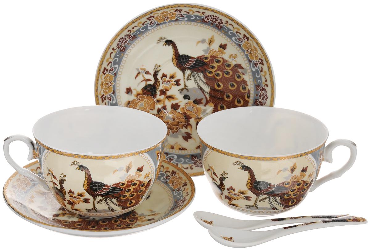 Набор чайный Elan Gallery Павлин на бежевом, 6 предметов730424Чайный набор Elan Gallery Павлин на бежевом состоит из 2 чашек, 2 блюдец и 2 ложек. Изделия, выполненные из высококачественной керамики, имеют элегантный дизайн и классическую круглую форму. Такой набор прекрасно подойдет как для повседневного использования, так и для праздников. Чайный набор Elan Gallery Павлин на бежевом - это не только яркий и полезный подарок для родных и близких, а также великолепное дизайнерское решение для вашей кухни или столовой. Не использовать в микроволновой печи. Объем чашки: 250 мл. Диаметр чашки (по верхнему краю): 9,5 см. Высота чашки: 6 см. Диаметр блюдца (по верхнему краю): 14 см. Высота блюдца: 2 см. Длина ложки: 13 см