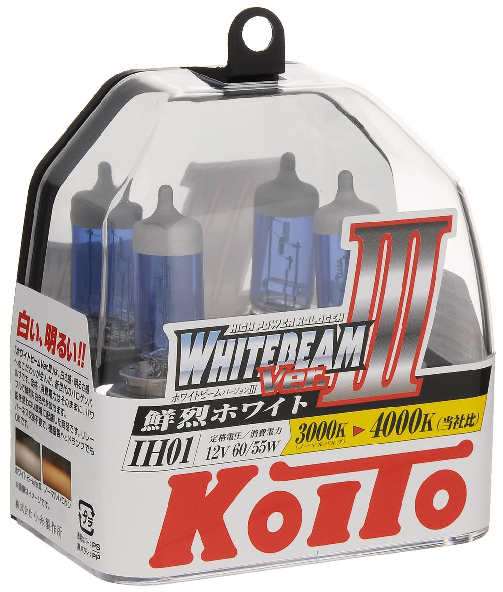 Лампа высокотемпературная Koito Whitebeam IH01 12V 60/55W (100/90W) пластиковая упаковка - 2 шт комплект P0745WP0745WЛампы KOITO Whitebeam являются вершиной развития технологий автомобильного освещения. Созданные с применением самых современных технологий и ноу-хау компании KOITO, разработанные на основе опыта поставок систем освещения крупнейшим мировым автопроизводителям, лампы серии Whitebeam III воплотили в себе весь опыт и достижения компании за почти вековую историю работы. Напряжение: 12 вольт. Цветовая температура: 4000К. Тип цоколя: IH01. Цвет света: белый. Технические характеристики: 12V 60/55W (светоотдача 100/90W. )