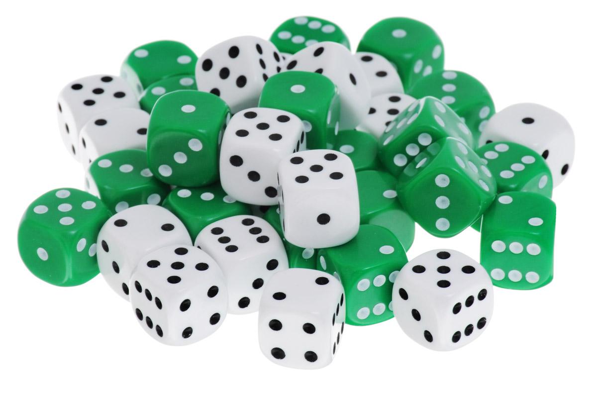 Koplow Games Набор костей игральных Простые D6 цвет зеленый белый 36 шт1826_зеленый,белыйНабор игральных костей Koplow Games Простые D6 предназначен для настольных игр. Набор состоит из 36 шестигранных костей. На каждую грань игральной кости нанесены в виде точек числа от 1 до 6. Целью игральной кости является демонстрация случайно определенного числа, каждое из которых является равновозможным благодаря правильной геометрической форме. Игральные кости выполнены из прочного пластика.