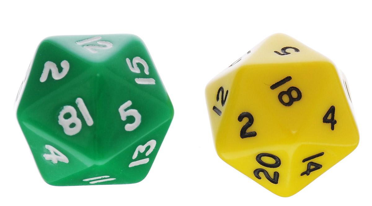 Koplow Games Набор игральных костей Простые D20 цвет зеленый желтый 2 шт29420_зеленый,желтыйНабор игральных костей Koplow Games Простые D20 предназначен для настольных игр. Набор состоит из двух двадцатигранных костей. На каждую грань игральной кости нанесены числа от 1 до 20. Целью игральной кости является демонстрация случайно определенного числа, каждое из которых является равновозможным благодаря правильной геометрической форме. Игральные кости выполнены из прочного пластика. Уважаемые клиенты! Обращаем ваше внимание на то, что цвет цифр на игральных костях может отличаться от представленного на изображении. Поставка осуществляется в зависимости от наличия на складе.