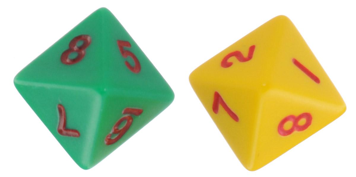 Koplow Games Набор игральных костей Простые D8 цвет зеленый желтый 2 шт2547_зеленый,желтыйНабор игральных костей Koplow Games Простые D8 предназначен для настольных игр. Набор состоит из двух восьмигранных костей. На каждую треугольную грань игральной кости нанесены числа от 1 до 8. Целью игральной кости является демонстрация случайно определенного числа, каждое из которых является равновозможным благодаря правильной геометрической форме. Игральные кости выполнены из прочного пластика.