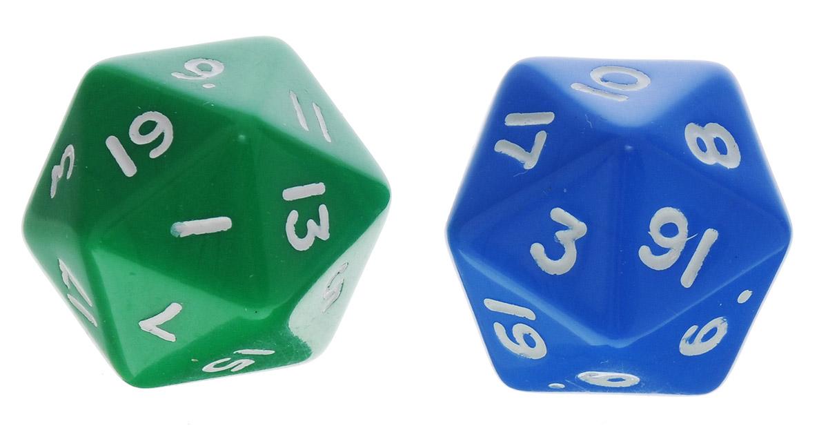 Koplow Games Набор игральных костей Простые D20 цвет зеленый синий 2 шт29420_зеленый,синийНабор игральных костей Koplow Games Простые D20 предназначен для настольных игр. Набор состоит из двух двадцатигранных костей. На каждую грань игральной кости нанесены числа от 1 до 20. Целью игральной кости является демонстрация случайно определенного числа, каждое из которых является равновозможным благодаря правильной геометрической форме. Игральные кости выполнены из прочного пластика. Уважаемые клиенты! Обращаем ваше внимание на то, что цвет цифр на игральных костях может отличаться от представленного на изображении. Поставка осуществляется в зависимости от наличия на складе.