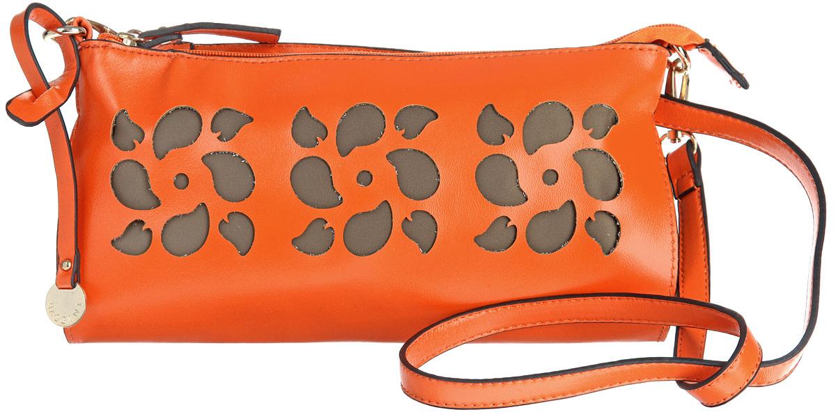 Сумка женская Baggini, цвет: оранжевый. 28073-1/6228073-1/62Стильная женская сумка Baggini выполнена из искусственной кожи с гладкой фактурой, оформлена оригинальной подвеской и перфорацией в виде трех цветков. Изделие содержит одно отделение, закрывающееся на застежку-молнию. Внутри сумки расположены два накладных кармашка для мелочей и врезной карман на молнии. Сумка дополнена съемным плечевым ремнем. Оригинальная сумка идеально подчеркнет ваш неповторимый стиль.
