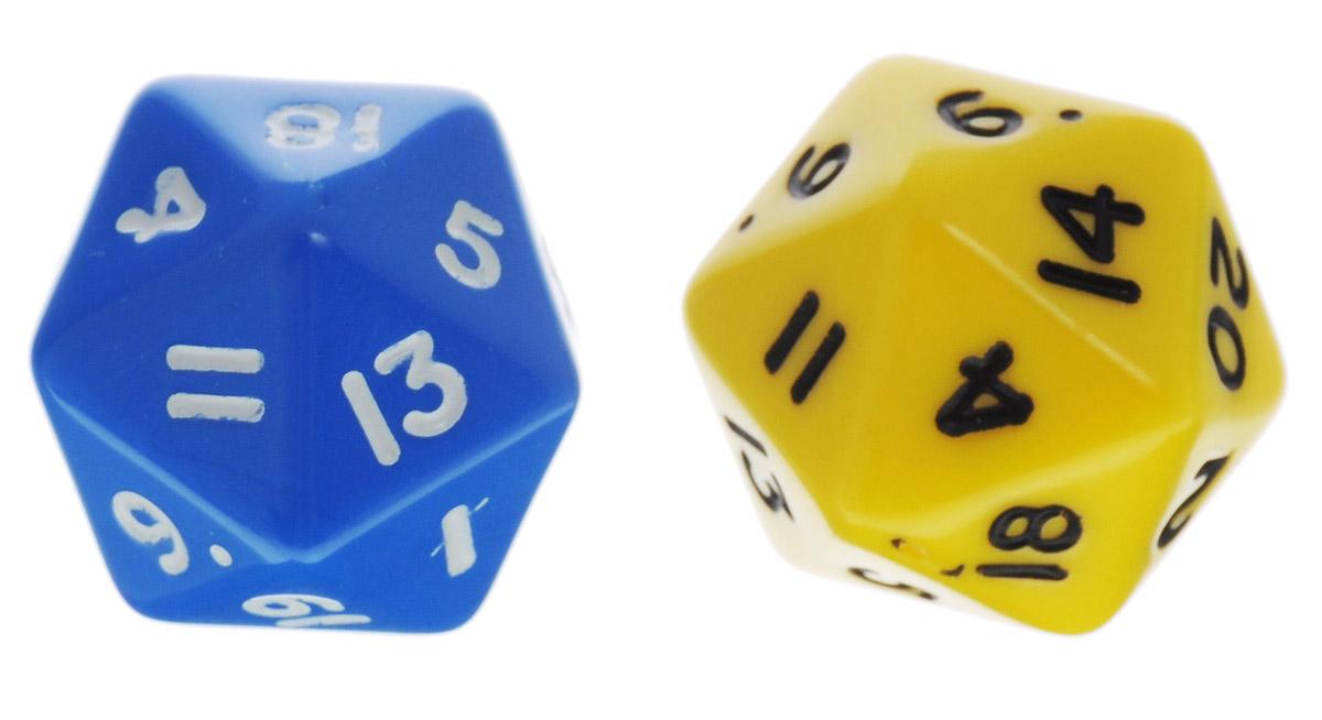 Koplow Games Набор игральных костей Простые D20 цвет желтый синий 2 шт29420_желтый,синийНабор игральных костей Koplow Games Простые D20 предназначен для настольных игр. Набор состоит из двух двадцатигранных костей. На каждую грань игральной кости нанесены числа от 1 до 20. Целью игральной кости является демонстрация случайно определенного числа, каждое из которых является равновозможным благодаря правильной геометрической форме. Игральные кости выполнены из прочного пластика. Уважаемые клиенты! Обращаем ваше внимание на то, что цвет цифр на игральных костях может отличаться от представленного на изображении. Поставка осуществляется в зависимости от наличия на складе.