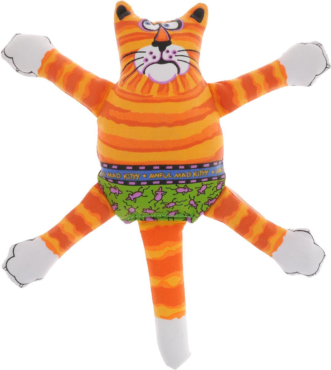 Игрушка для собак Fat Cat Кот-забияка, цвет: оранжевый, зеленый10747.оранжИгрушка Fat Cat Кот-забияка - это мечта каждой собаки, которая хочет потрепать кота и получить от этого удовольствие. Кот в свою очередь - не просто яркая игрушка с нахальной мордой, это забияка, который подразнит вашего любимца и даст сдачи во время игры, при тряске он машет лапами и шлепает ими собаку по голове. Внутри игрушки пищалка, срабатывающая при нажатии. Забавное времяпрепровождение вашему другу просто обеспечено! Подойдет для собак средних размеров.