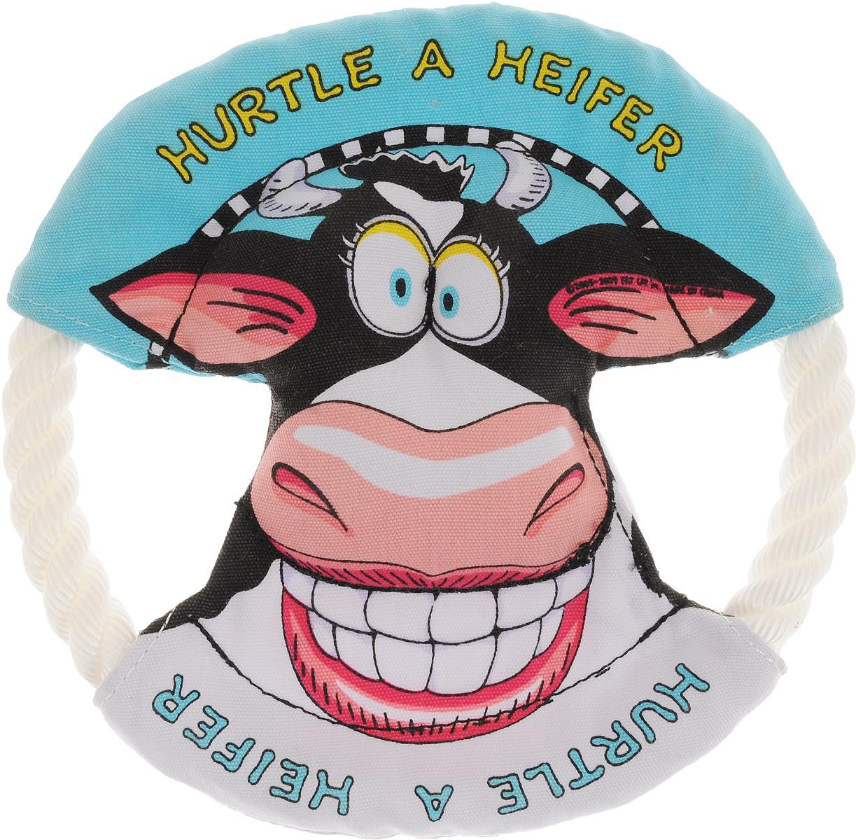 Игрушка для собак Fat Cat Бодрая корова, диаметр 16 см19429Игрушка Fat Cat Бодрая корова - это прочное и веселое веревочное кольцо, предназначенное для игр щенков и собак некрупных пород. Может быть использовано для игр и тренировок, как игрушка, игрушка-перетяжка или фрисби. Изделие выполнено из прочного текстиля и каната. Игрушка прошита тройным швом, отличается высоким качеством и долговечностью. Диаметр игрушки: 16 см.