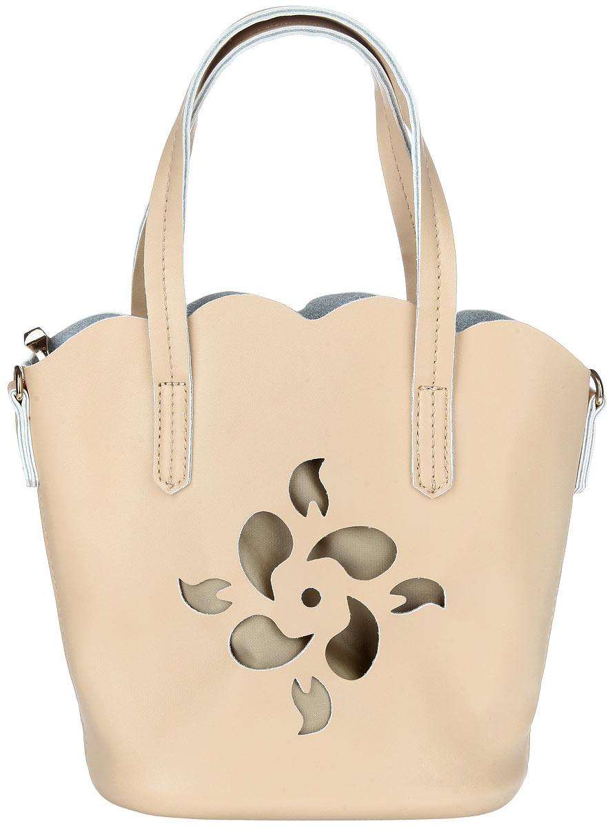 Сумка женская Baggini, цвет: бежевый. 28073/3128073/31Стильная женская сумка Baggini выполнена из искусственной кожи с лаковым покрытием, оформлена перфорацией в виде цветка. Изделие содержит одно открытое отделение, внутри которого размещен съемный карман на застежке-молнии. Внутри съемного кармана размещены: два накладных кармашка для мелочей и врезной карман на молнии. Сумка оснащена съемным плечевым ремнем. Оригинальная сумка идеально подчеркнет ваш неповторимый стиль.
