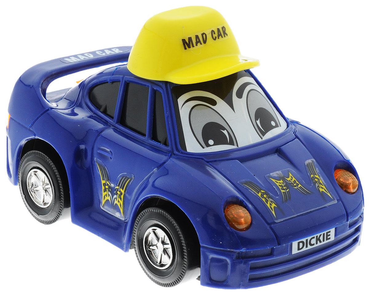 Dickie Toys Веселая машинка цвет синий3313007Веселая машинка Dickie Toys непременно привлечет внимание малыша благодаря яркому дизайну. Лобовое стекло машинки оформлено наклейкой в виде глазок. Машина оснащена световыми эффектами. Игрушка выполнена из абсолютно безопасного высококачественного пластика. С такой машинкой ребенок может играть как дома, так и на улице. Игра с машинкой помогает развивать мелкую моторику, цветовое восприятие, координацию движений, а также является хорошим средством для развлечения ребенка. Для работы машинки необходимо купить 2 батарейки типа АА (не входят в комплект).