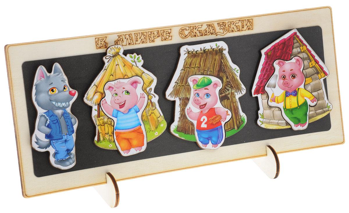 Лесная мастерская Кукольный театр на магнитах Три поросенка860939Слушать сказки очень интересно, однако еще интереснее принимать в них участие! Подарите своему ребенку такую возможность с новой серией игр Сказки на магнитах. Набор состоит из деревянной доски и четырех ярких магнитных фигурок-персонажей сказки Три поросенка с тремя домиками. Читая малышу сказку, вы можете сами двигать фигурки, а можете попросить ребенка сделать это. Такая игра способствует улучшению памяти, развитию мелкой моторики и образного мышления. Кукольный театр на магнитах Лесная мастерская Три поросенка создан из качественных, экологически чистых материалов.