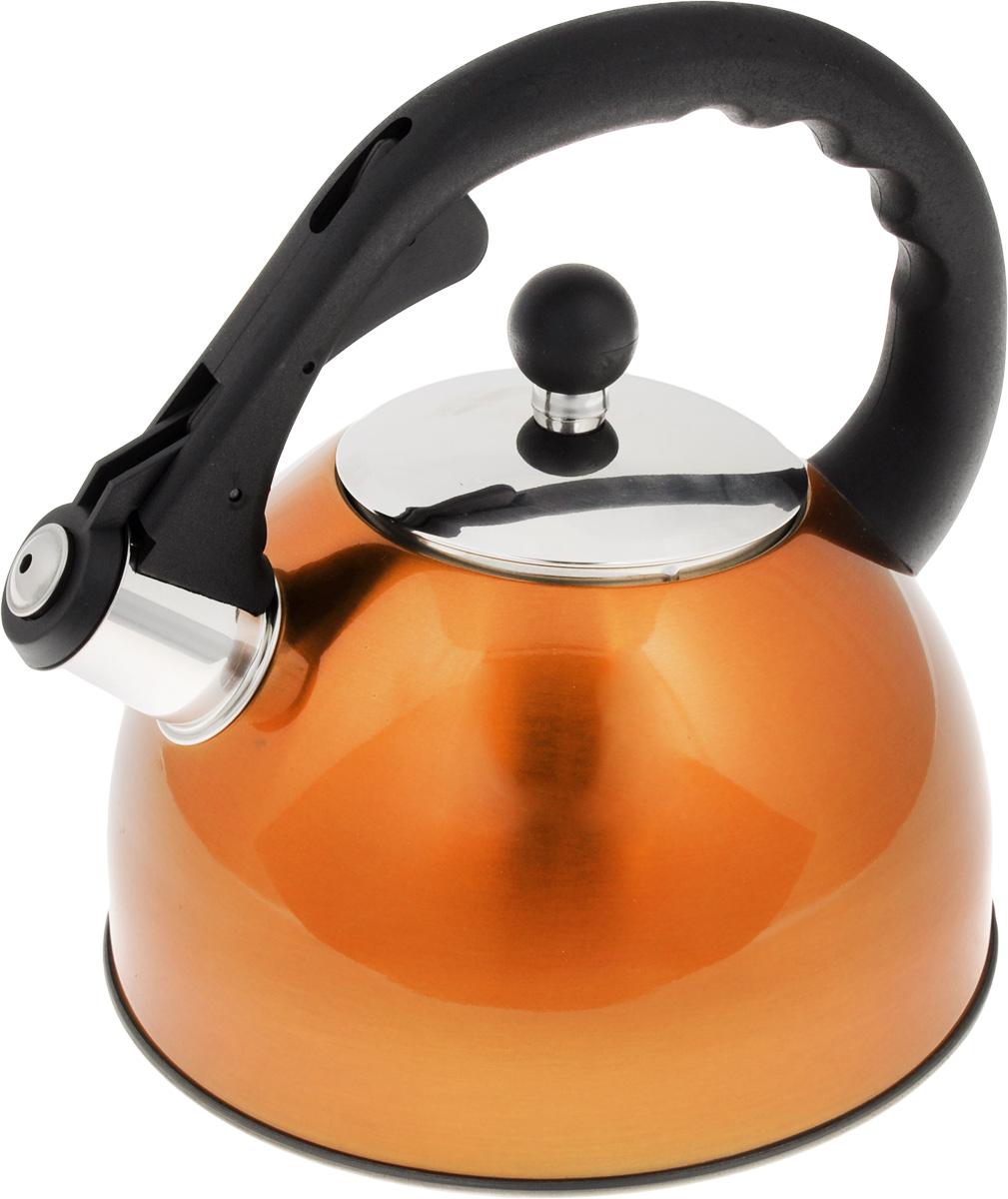 Чайник Mayer & Boch, со свистком, цвет: оранжевый, 2,7 л. 33333333_оранжевыйЧайник Mayer & Boch изготовлен из высококачественной нержавеющей стали. Внешнее цветное термостойкое покрытие корпуса придает изделию безупречный внешний вид. Изделие оснащено пластиковой ручкой эргономичной формы и свистком, который громко оповещает о закипании воды. Можно использовать на всех видах плит. Подходит для индукционных плит. Можно мыть в посудомоечной машине. Диаметр (по верхнему краю): 10 см. Высота чайника (без учета ручки и крышки): 12 см. Высота чайника (с учетом ручки и крышки): 22 см.