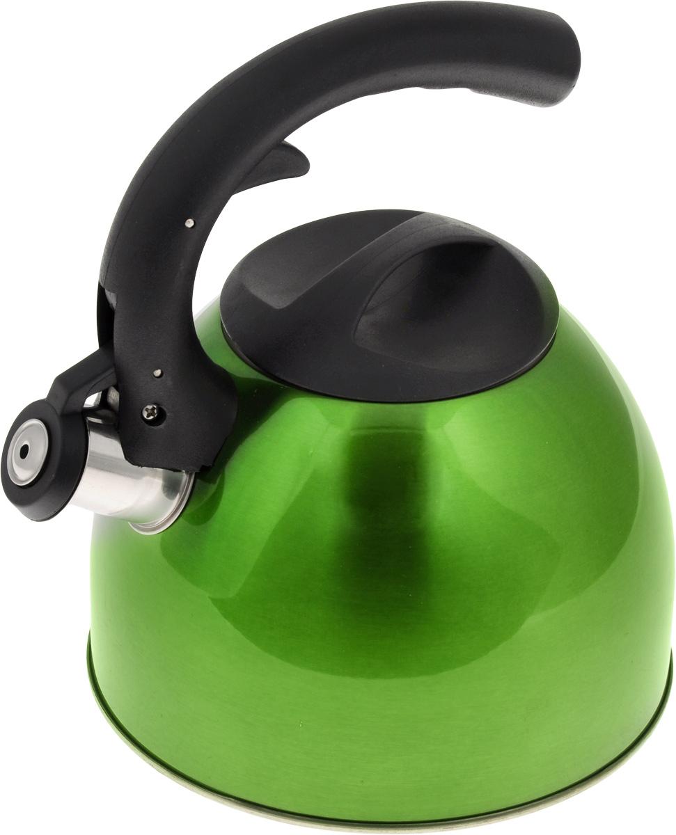 Чайник Mayer & Boch, со свистком, цвет: зеленый, 2,5 л. 2319723197_зеленыйЧайник Mayer & Boch изготовлен из высококачественной нержавеющей стали. Гладкая и ровная поверхность существенно облегчает уход. Чайник оснащен удобной нейлоновой ручкой, которая не нагревается даже при продолжительном периоде нагрева воды. Носик чайника имеет насадку-свисток, что позволит вам контролировать процесс подогрева или кипячения воды. Выполненный из качественных материалов, чайник Mayer & Boch при кипячении сохраняет все полезные свойства воды. Чайник пригоден для использования на всех типах плит, кроме индукционных. Можно мыть в посудомоечной машине. Высота стенок чайника: 12 см. Толщина стенок чайника: 2 мм. Высота чайника (с учетом ручки): 22,5 см.