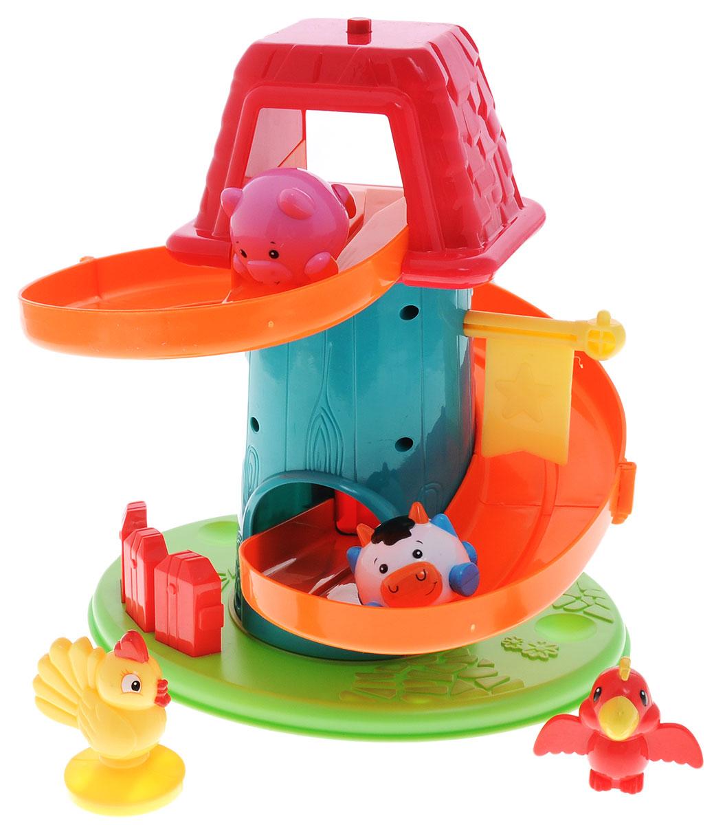 Simba Развивающая игрушка Вращающаяся ферма4014627Развивающая игрушка Simba Вращающаяся ферма будет интересна не только годовалым малышам, но и деткам помладше. Игрушка выполнена из гигиенического, безопасного для малышей пластика высокого качества, окрашенного нетоксичными красками. В комплект входят ферма (трек) и 4 фигурки животных - коровка, поросенок, петушок и попугай. Корова и поросенок предназначаются для спуска, петушок взирает сверху на веселые гонки, а попугай посередине трека держит музыкальный флажок. Проносясь по треку, по очереди, поросенок и коровка задевают флажок, что вызывает звон, радующий малыша. А заканчивается гонка зверюшек тем, что, набрав по пути скорость, они толчком открывают дверку, установленную на финише. Игра развивает моторику рук, концентрацию внимания, память, слуховое и зрительное восприятия, логическое мышление. Кроме того, ребенок узнает названия животных и цветов.