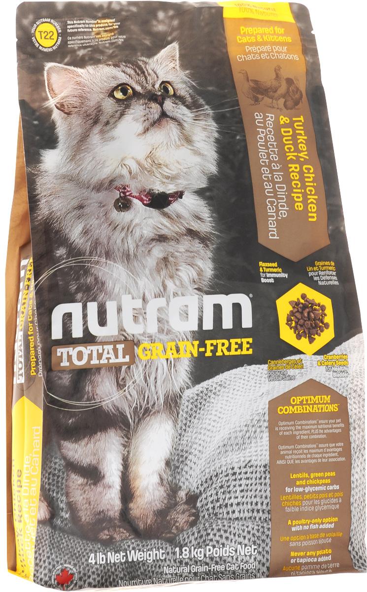 Корм сухой Nutram, для кошек и котят, беззерновой, с мясом индейки, курицы и утки, 1,8 кг82754Беззерновой сухой корм Nutram - натуральное и полноценное питание с низким гликемическим индексом углеводов. Улучшает самочувствие и здоровье домашних питомцев по принципу изнутри наружу. Подход Nutram к целостному питанию начинается со здорового развития. Рецептура корма Nutram соответствует возрастным нормам питания для кошек, установленным ассоциацией AAFCO. Он содержит в себе мясо индейки, курицы и утки. Состав: мясо индейки без костей, дегидрированное мясо курицы, чечевица, цельные яйца, зеленый горошек, бараний горох, куриный жир, натуральный ароматизатор курицы, мясо утки без костей, льняное семя, тыква, брокколи, киноа, хлорид холина, сушеная клюква, гранат, малина, листовая капуста, морская соль, корень цикория (пребиотик), витамины и минералы (витамин E, С, B3, А, B1, B5, B6, B2, D3, B9, B7, B12, бета-каротин, протеинат цинка, сульфат железа, оксид цинка, протеинат железа, сульфат меди, протеинат меди, протеинат марганца, оксид марганца, иодат...