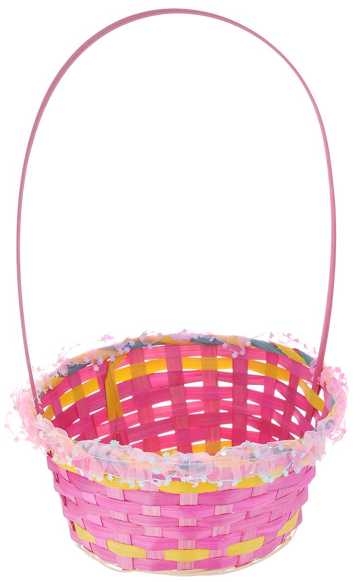 Корзина декоративная Home Queen Праздничное лукошко, цвет: розовый, диаметр 23 см64170_1Корзинка Home Queen Праздничное лукошко прекрасно подойдет для хранения пасхальных яиц. Корзинка выполнена из плетеных волокон бамбука. Края изделия декорированы лентой с цветочками. Для удобства переноски корзинка снабжена ручкой. Такая корзинка украсит праздничный стол, внесет частичку тепла и веселья в ваш дом. Диаметр корзинки: 23 см. Высота стенки (без учета ручки): 11 см. Высота корзинки (с ручкой): 36 см.