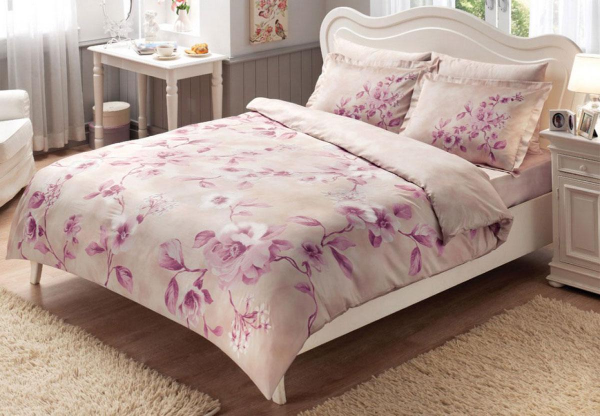 Комплект белья TAC Magnolia, 1,5-спальный, наволочки 50х70, цвет: белый, светло-розовый4041Роскошный комплект постельного белья TAC Magnolia выполнен из качественного плотного сатина с использованием фирменного нанесения Pano. Комплект состоит из пододеяльника, простыни и двух наволочек. Пододеяльник застегивается на пуговицы. Сатин – гладкая и прочная ткань, которая своим блеском, легкостью и гладкостью похожа на шелк, но выгодно отличается от него в цене. Сатин практически не мнется, поэтому его можно не гладить. Ко всему прочему, он весьма практичен, так как хорошо переносит множественные стирки. Доверьте заботу о качестве вашего сна высококачественному натуральному материалу.
